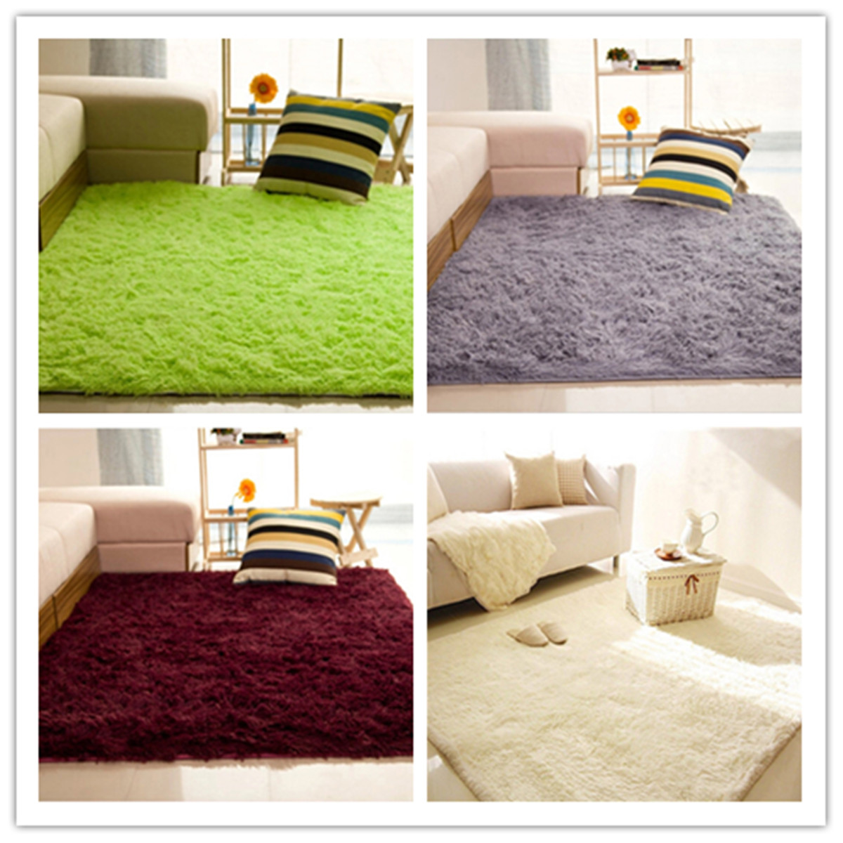 Cotton Carpet Living Room Dining Bedroom Area Rugs Anti: Shaggy Anti-skid Carpets Rugs Floor Mat/Cover 80x120cm