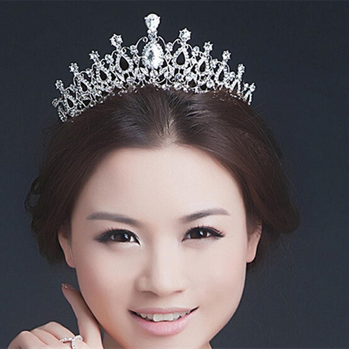 Wedding Crown Hair: Elegant Rhinestone Crystal Tiara Crown Hair Jewelry