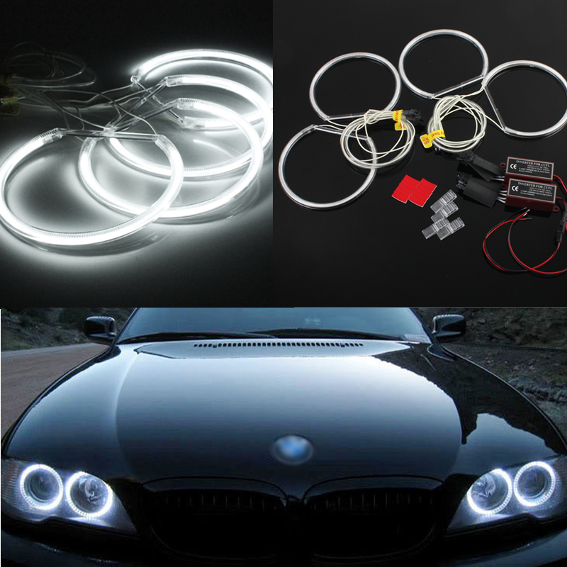 4x xenon white led ccfl angel eyes halo rings lights for. Black Bedroom Furniture Sets. Home Design Ideas