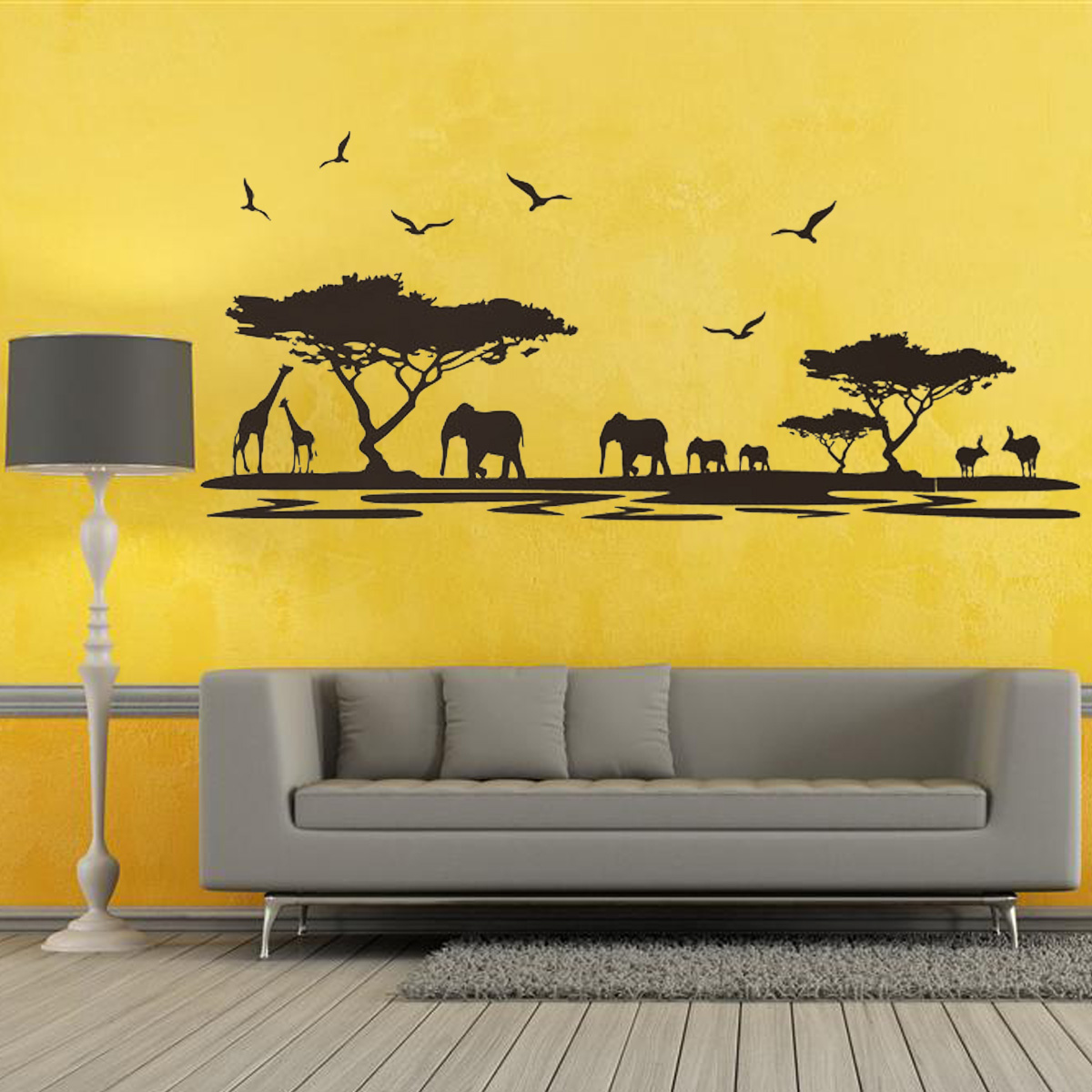 African elephant wall sticker living room decor mural art for Room decor lazada