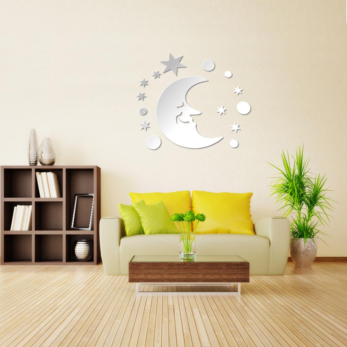Modern 3D Mirror Acrylic Home Room Office DIY Decor Art Wall Sticker ...