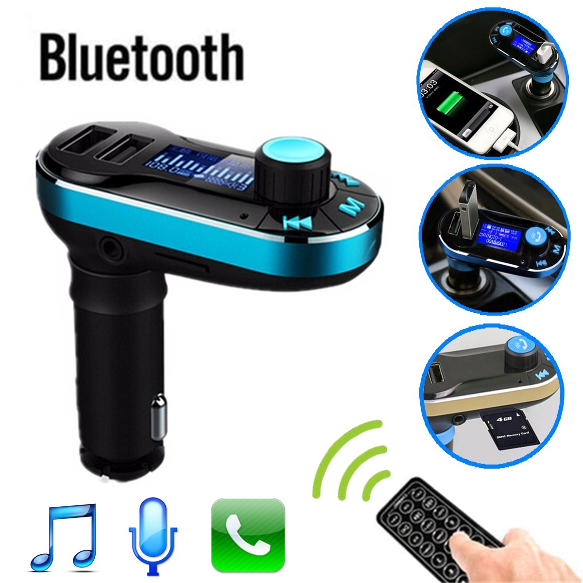 bluetooth lcd voiture kit mp3 transmetteur fm main libre dual usb chargeur aux achat vente. Black Bedroom Furniture Sets. Home Design Ideas
