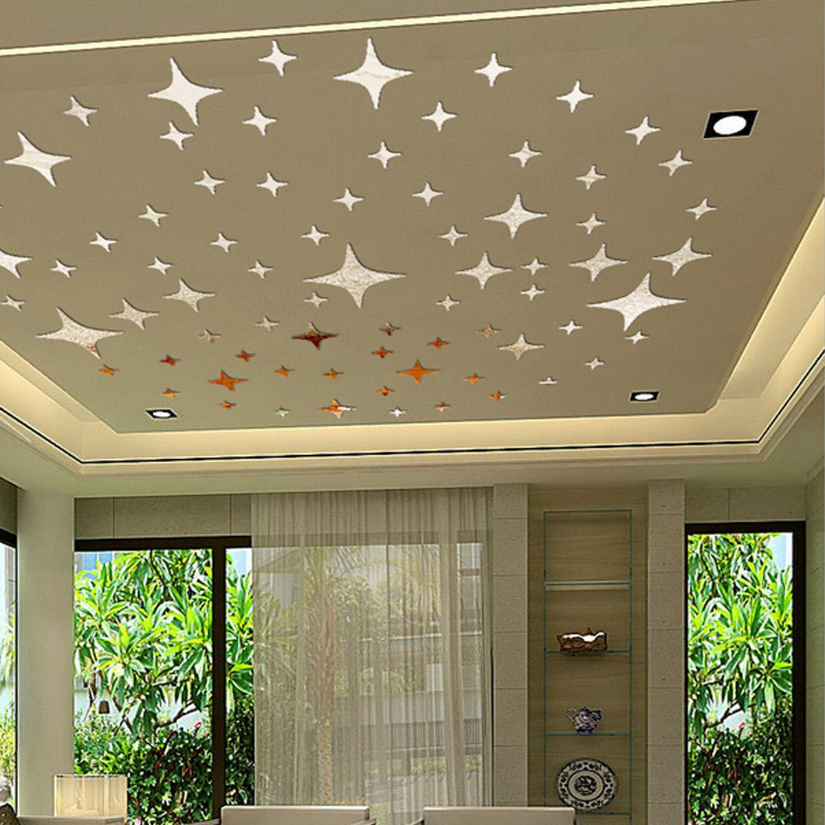 43 sky stars mirror ceiling wall stickers room decor for Room decor lazada