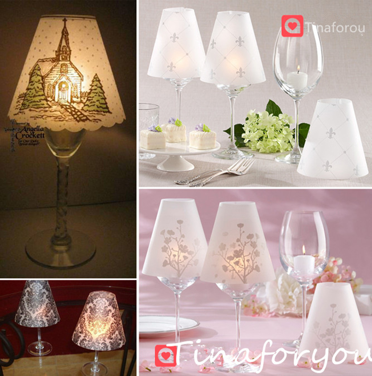 Wedding party table decor wine glass cup candle cover for Wine glass table decorations