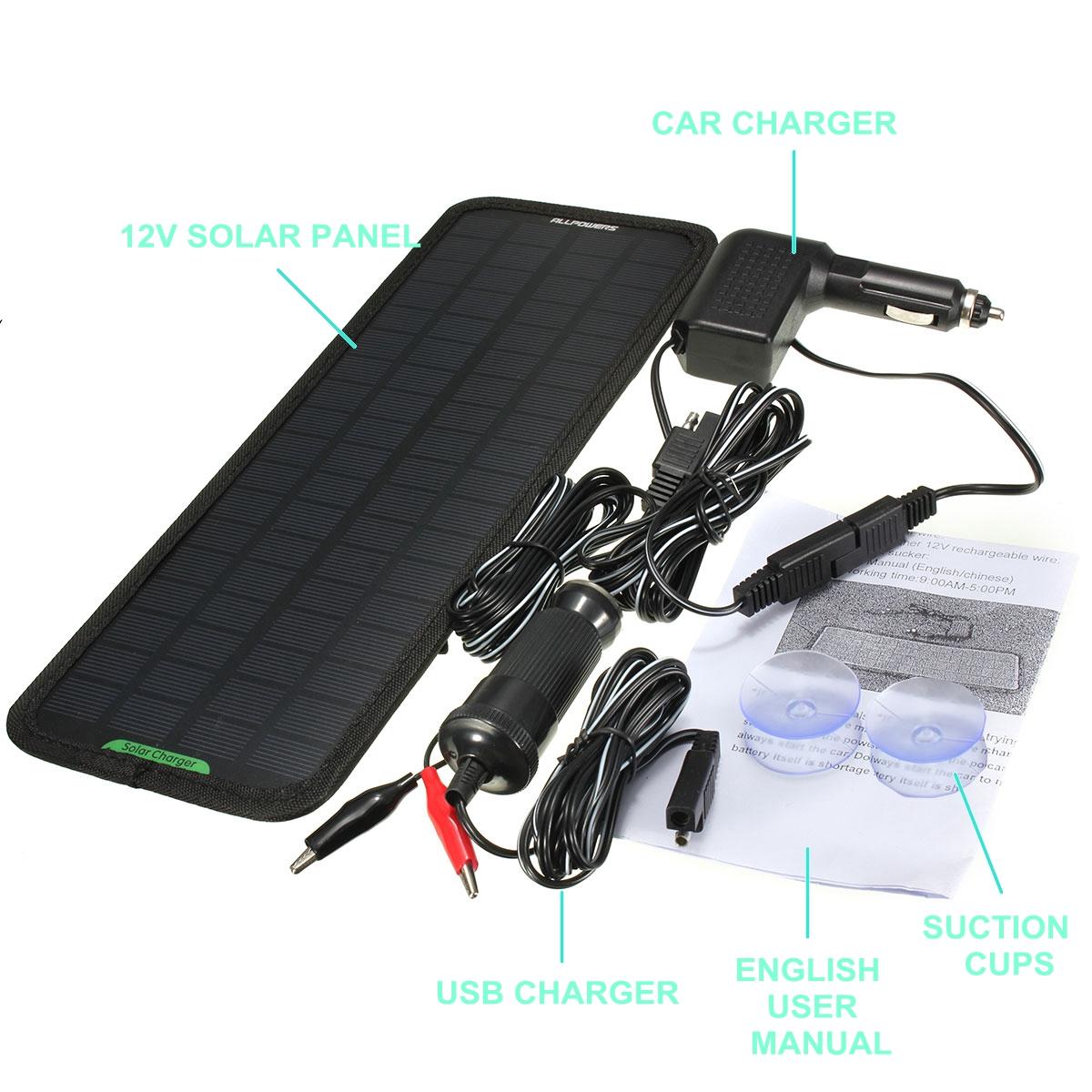 Smart 12V 4.5W Solar Panel Battery Power Backup Charger