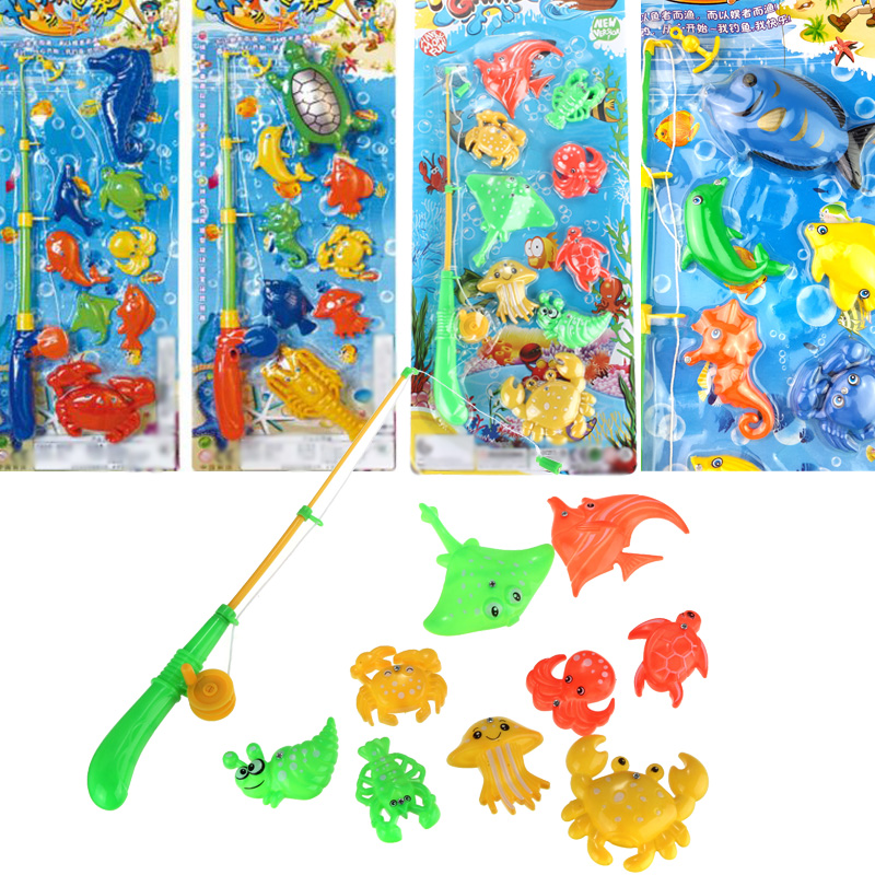 Educational fish pond game magnetic fishing pole rod fish for Fish pond game