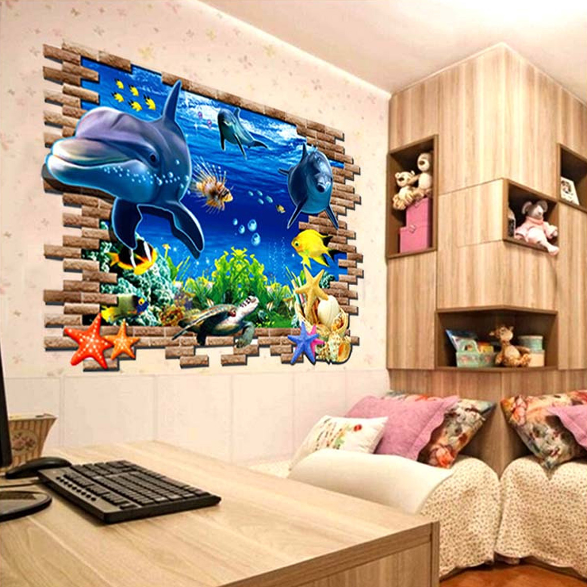 3d blue sea world dolphin removable wall sticker wallpaper for 3d wallpaper for home malaysia