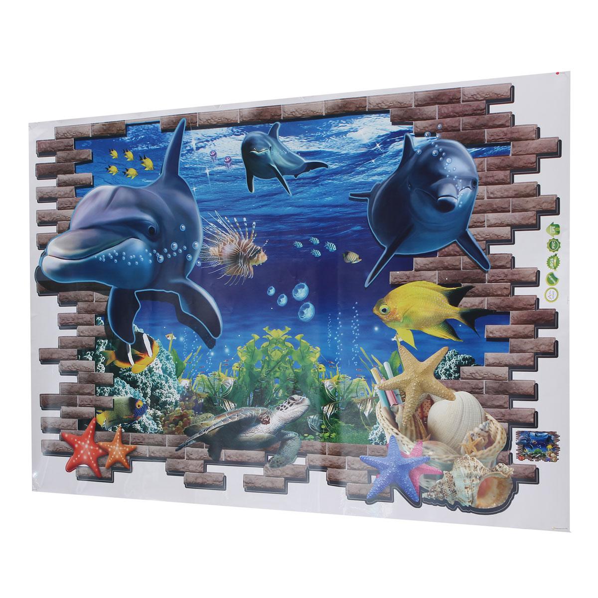 3d blue sea world dolphin removable wall sticker wallpaper 3d dolphin picture wall decor photo home decor picture ebay