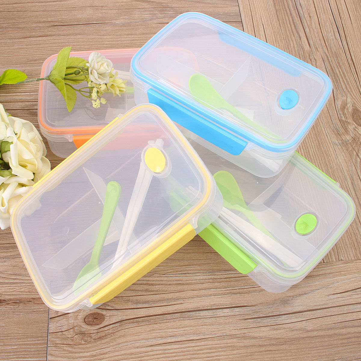 child bento lunch box picnic food container storage spoon. Black Bedroom Furniture Sets. Home Design Ideas