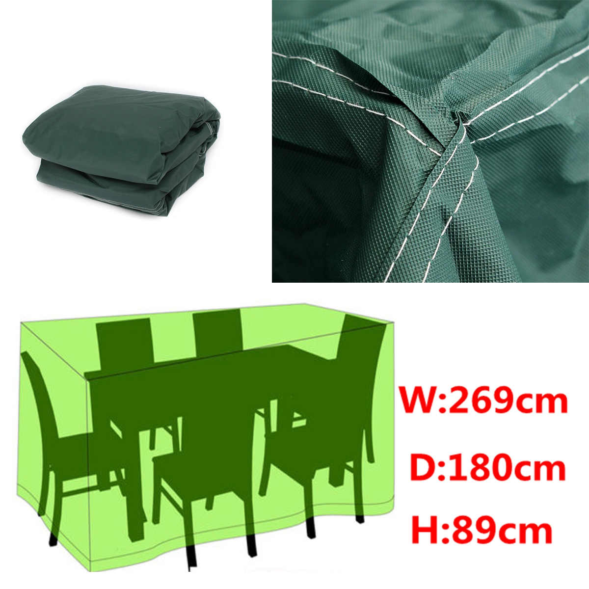 269x180x89 Rectangular Outdoor Furniture Cover Waterproof Patio Table Chair D
