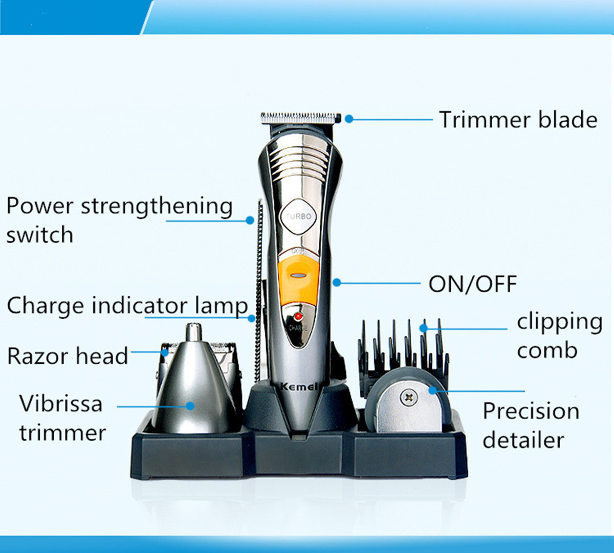 7in1 rechargeable kit nose ear body hair clipper grooming. Black Bedroom Furniture Sets. Home Design Ideas