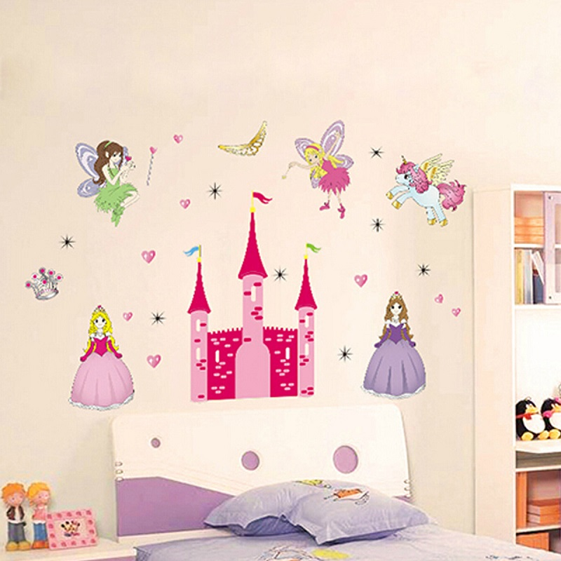 Removable vinyl mural wall sticker fairy princess castle for Castle wall mural sticker