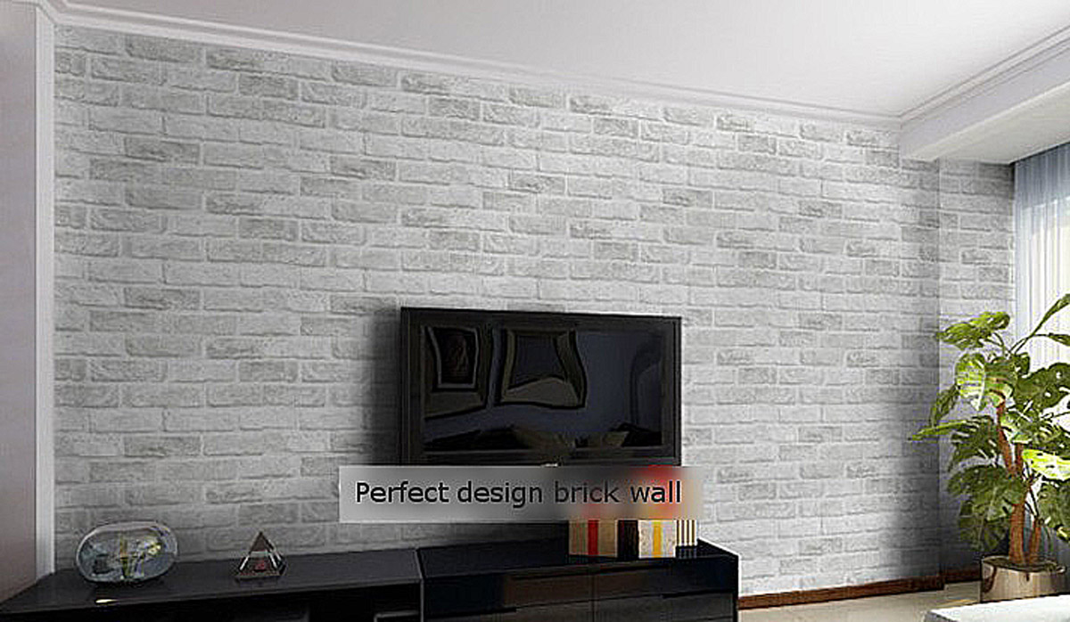 White grey fabric textured brick pattern wallpaper roll for Living room wallpaper texture