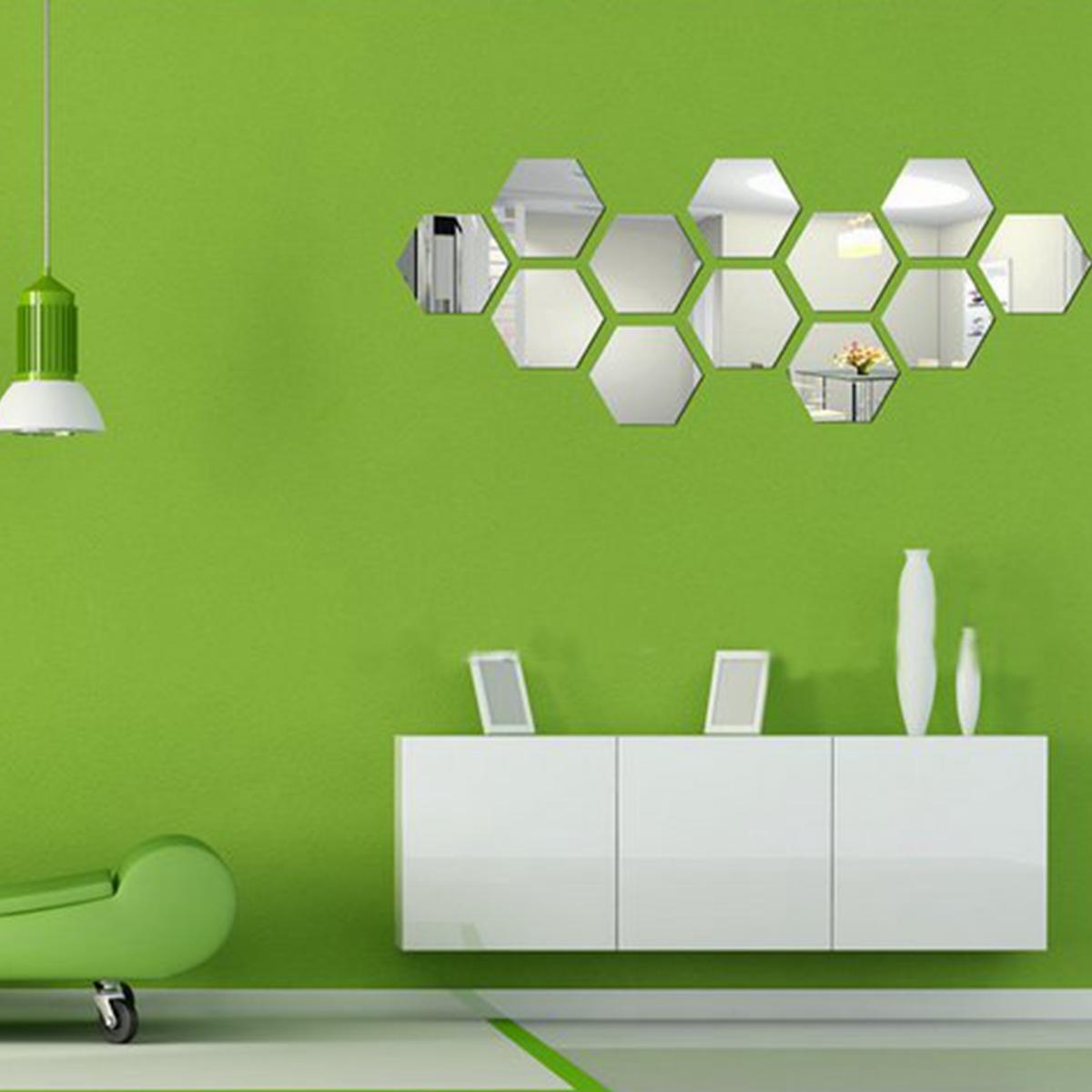 Modern 3D Mirror Geometric Hexagon Acrylic Wall Sticker Decor Art DIY ...