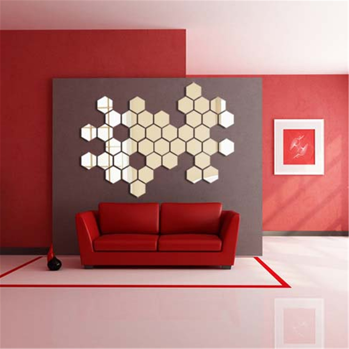 Modern 3D Mirror Geometric Hexagon Acrylic Wall Sticker ...