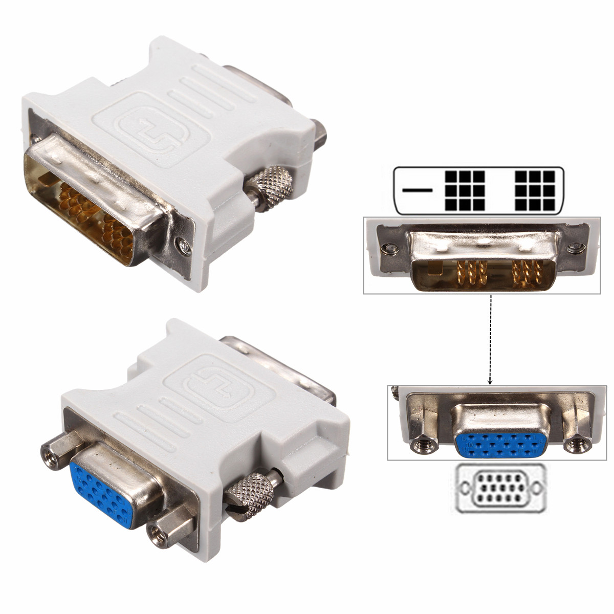 Dvi D 18 1 Dual Link Male To Vga 15 Pin Female Adapter