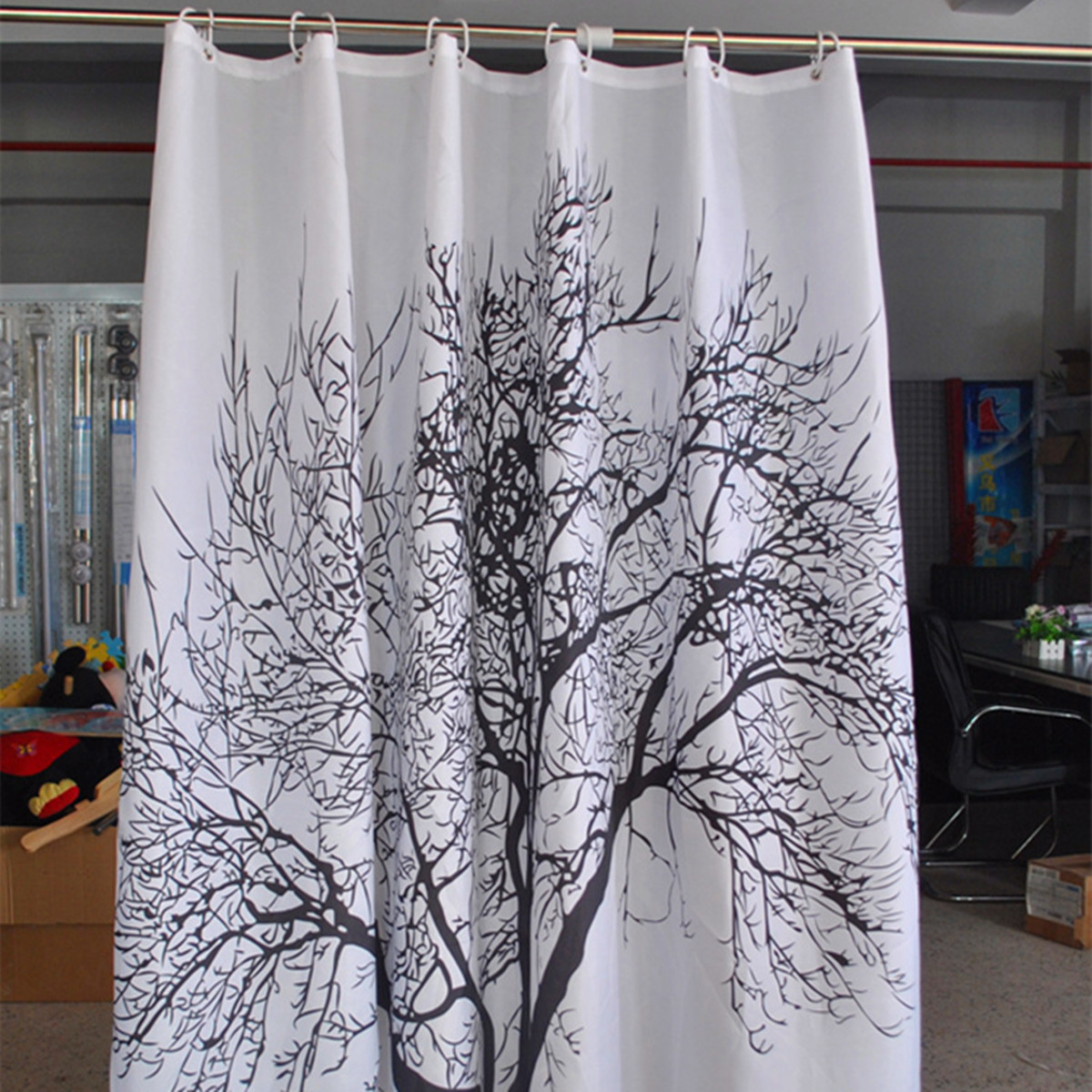 Tree Waterproof Fabric Bathroom Shower Curtain With 12
