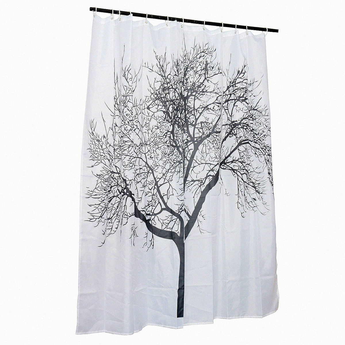 Tree Waterproof Fabric Bathroom Shower Curtain With 12 Hooks Polyester 180x180cm Lazada Malaysia