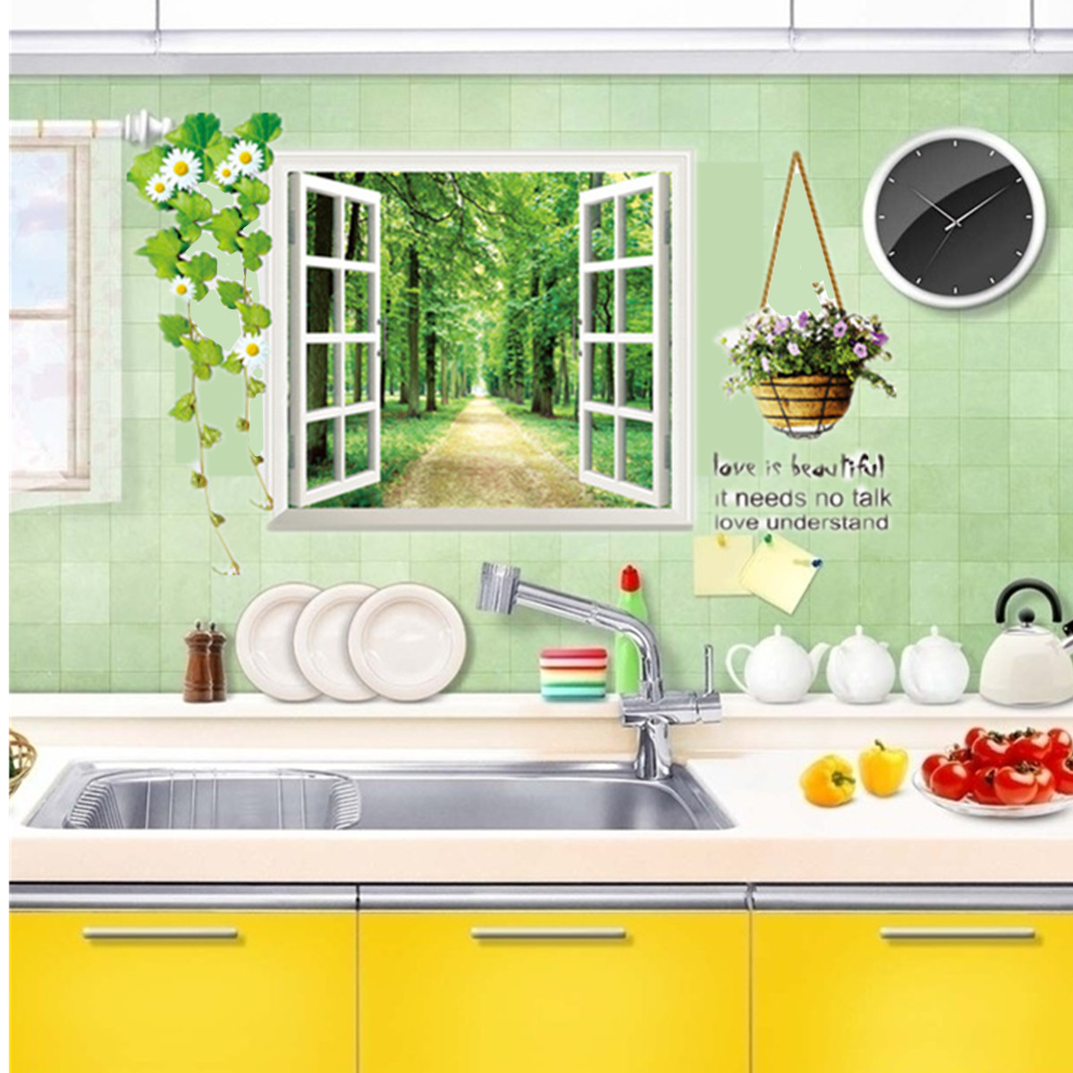 3d window forest view decal wall sticker home bedroom for What kind of paint to use on kitchen cabinets for removable wall art for nursery