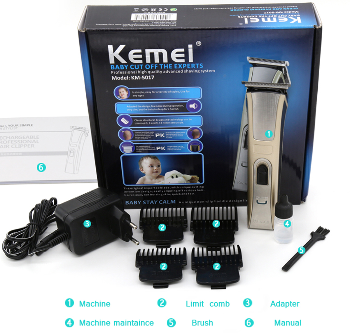 km 5017 rechargeable electric hair beard trimmer clipper kit men lazada malaysia. Black Bedroom Furniture Sets. Home Design Ideas