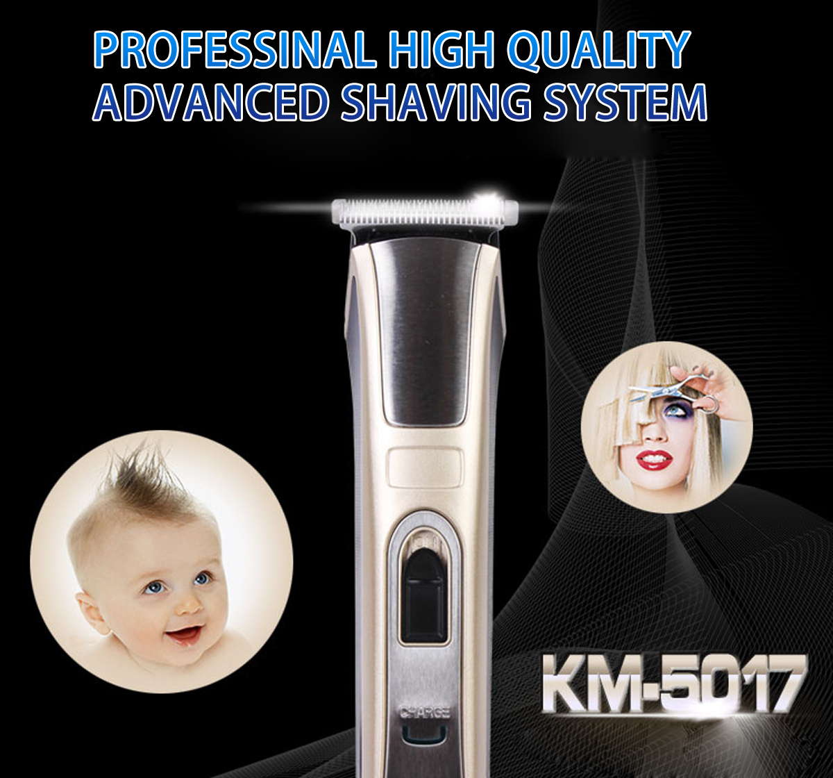 km 5017 rechargeable electric hair beard trimmer clipper. Black Bedroom Furniture Sets. Home Design Ideas