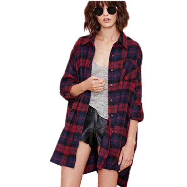 Zanzea oversized women scottish plaid check tartan shirt for Oversized plaid shirt womens