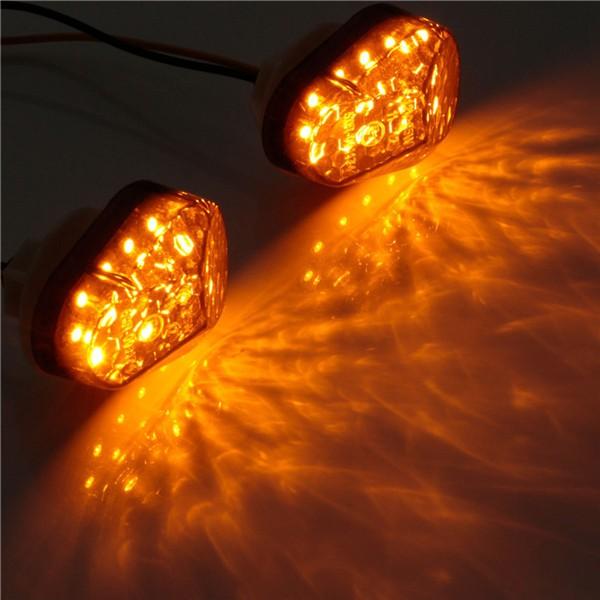 2個12Vスモーク15 LEDフラッシュマウントターンシグナルブリンカユニバーサル