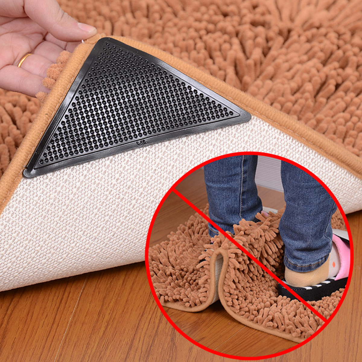 4x Rug Carpet Mat Grippers Anti Slip Anti Skid Reusable