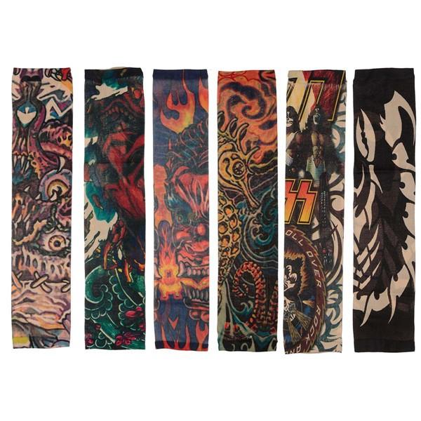 6pcs stili della miscela di manicotti provvisori del tatuaggio del partito elastico calze braccio g