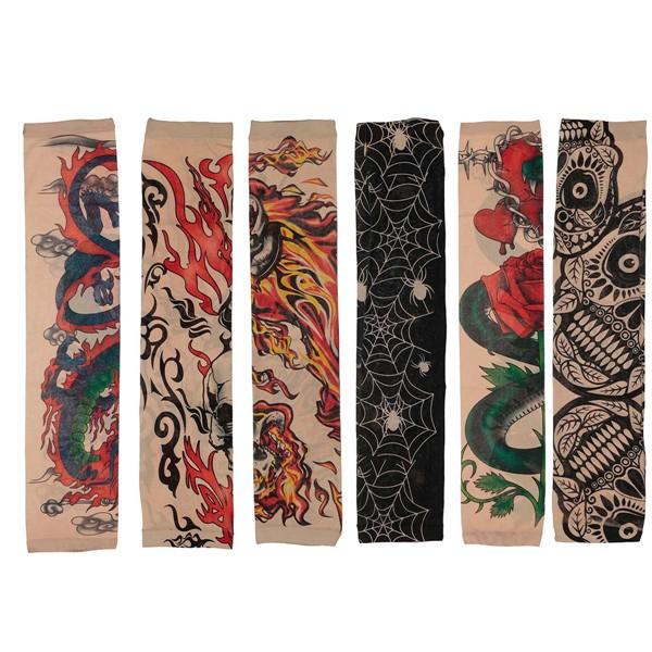 6pcs tatuaggio stile maniche mix elastico partito temporaneo halloween calze braccio
