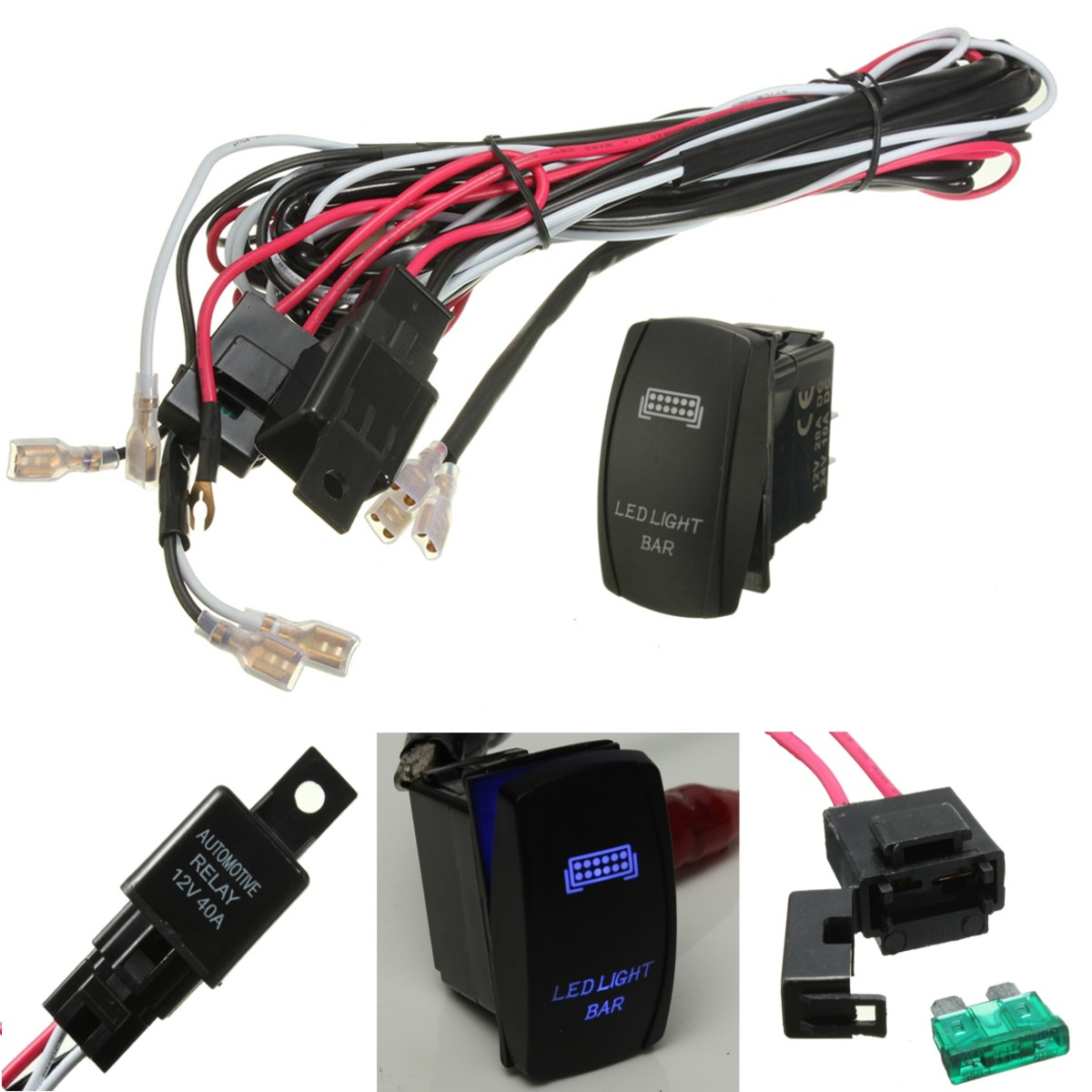 led light bar on off rocker switch wiring harness kit 40a relay image