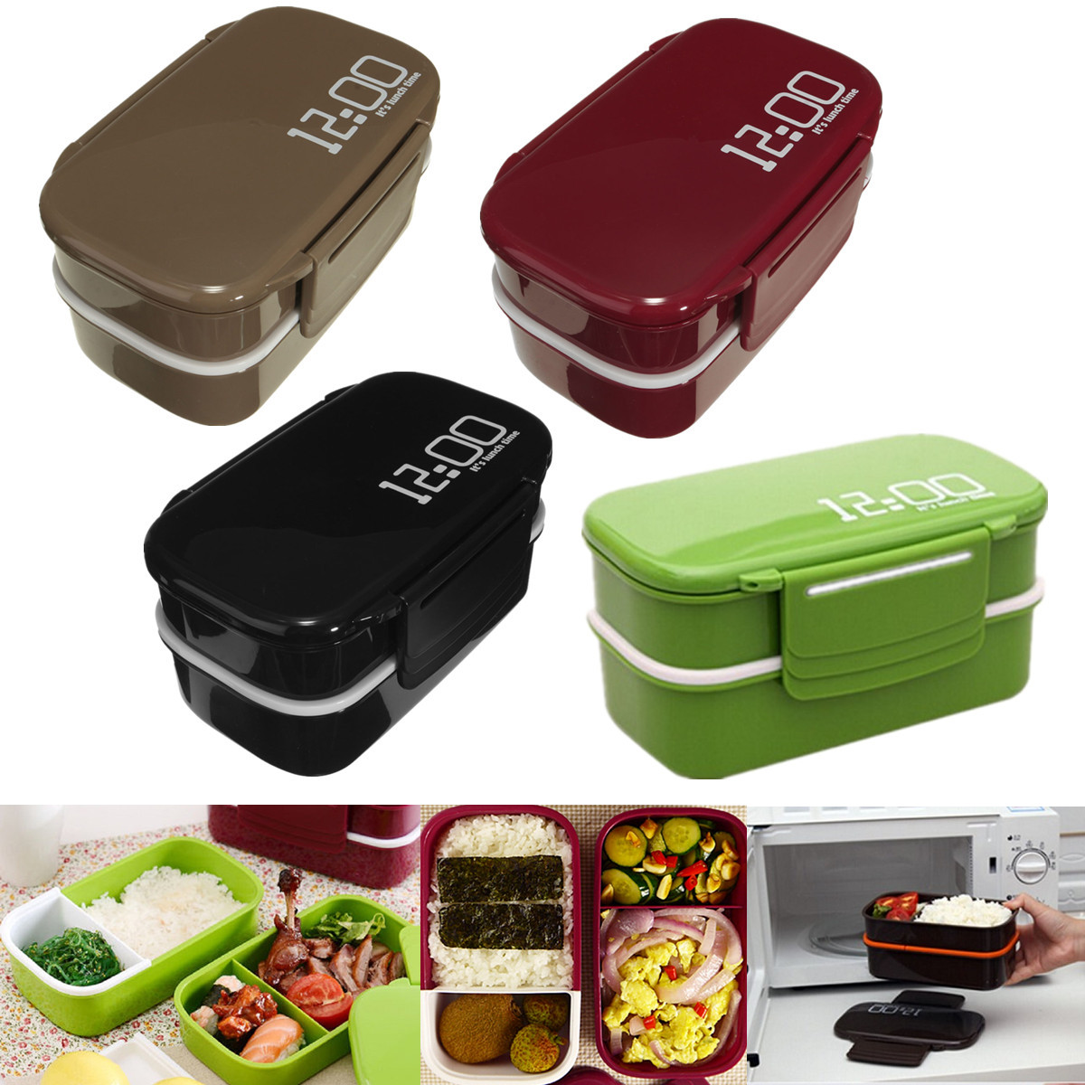 microwave plastic bento lunch box container large storage. Black Bedroom Furniture Sets. Home Design Ideas