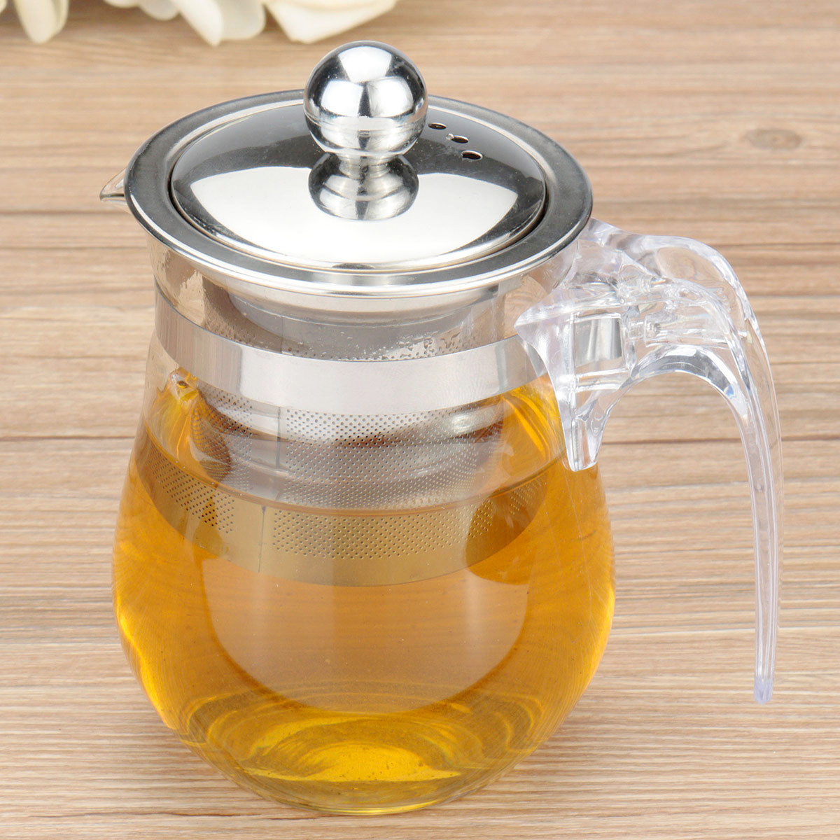 350mL Heat resisting Clear Glass Teapot Stainless Steel Infuser Flower Tea Po