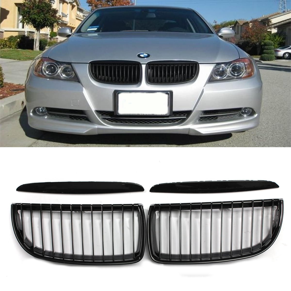 Bmw Grills: Gloss Black Front Kidney Grille Grill For BMW E90 320i
