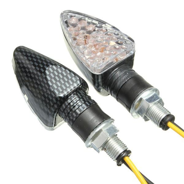 4pcs e- marchio motociclistico segnale di giro 15 LED indicatori lampadina carbonio