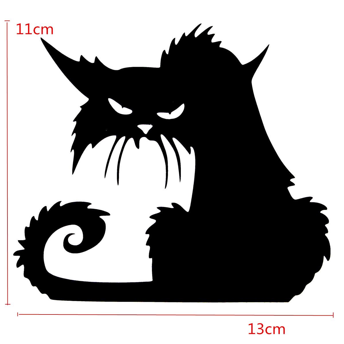 scary halloween autocollant de verre de chat noir. Black Bedroom Furniture Sets. Home Design Ideas