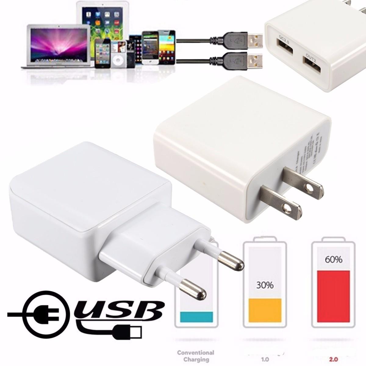 อุปกรณ์แปลงไฟแบบสากล Qualcomm QC2.0 USB 2 พอร์ตอุปกรณ์ชาร์จไฟสำหรับที่ชาร์จในสหรัฐอเมริกาและ EU