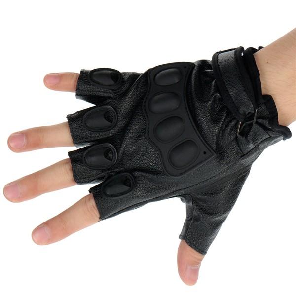 Motocicletta metà di guanti del dito pu sport di pelle l nero xl