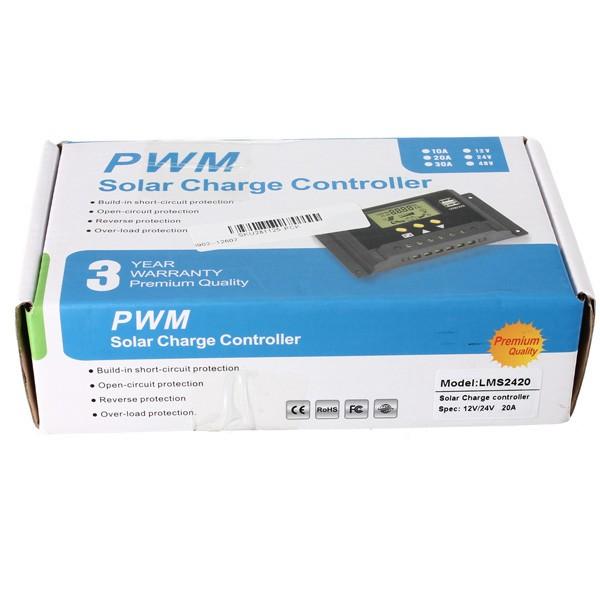 24V 12V 20A PWM ソーラーパネル  ソーラーレギュレータ・充電コントローラ  LCD USB 充電ポート