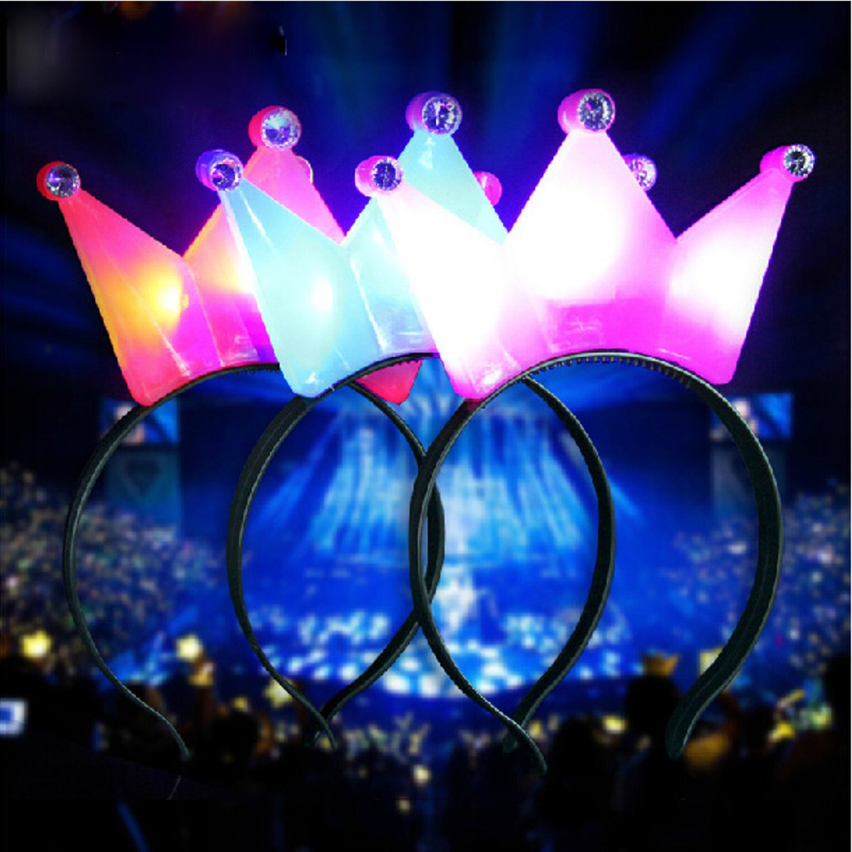 1pc Light Up Crown Headbrand Polka Dot Blinking Led