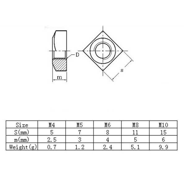 Acciaio inox 304 dado quadro filettatura metrica fissaggio M4 M5 M6 M8 M10