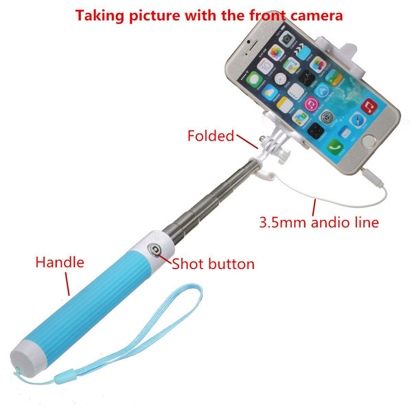 extendable handheld selfie stick wired remote shutter monopod with rearview m. Black Bedroom Furniture Sets. Home Design Ideas