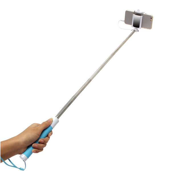 extendable handheld selfie stick wired remote shutter monopod with rearview mirror for iphone 6s. Black Bedroom Furniture Sets. Home Design Ideas