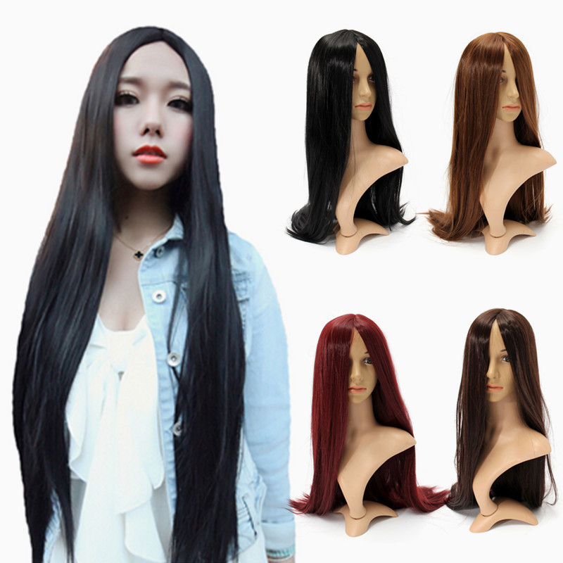 Womens Long Straight Black Hair Cosplay Halloween Full