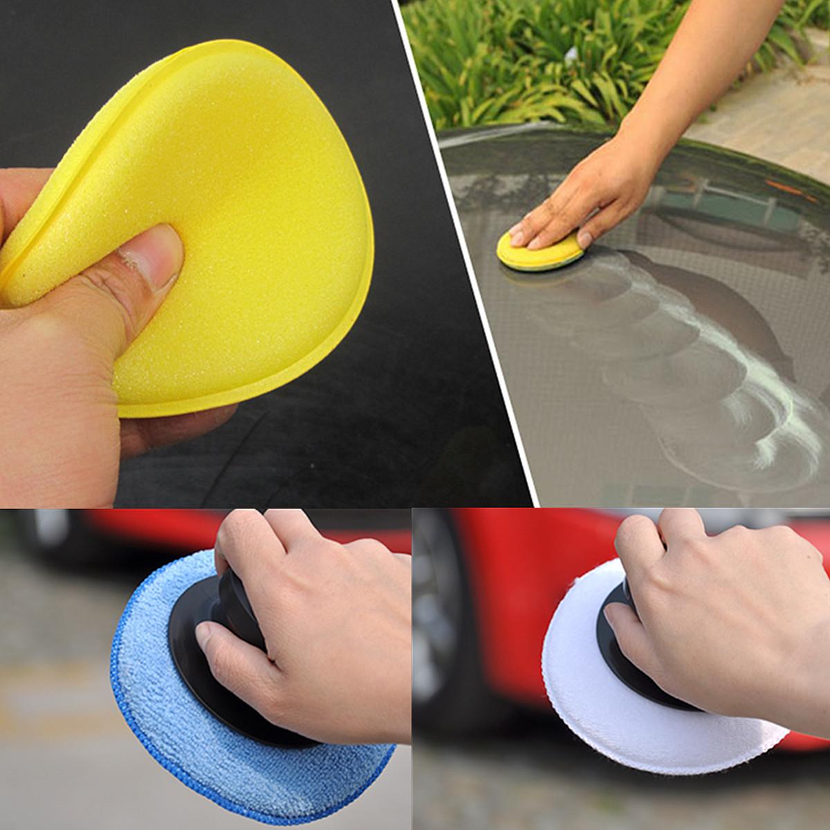 3pcs microfibre foam sponge polish wax cleaning applicator pads and