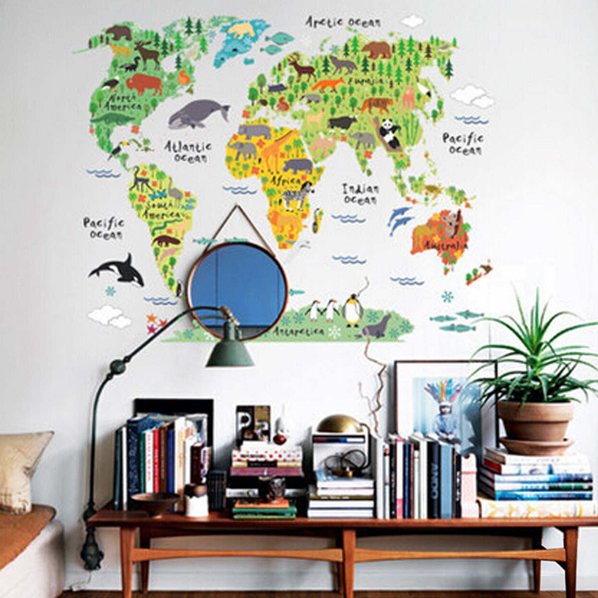 Removable animal world map wall decal art sticker kids for Room decor lazada