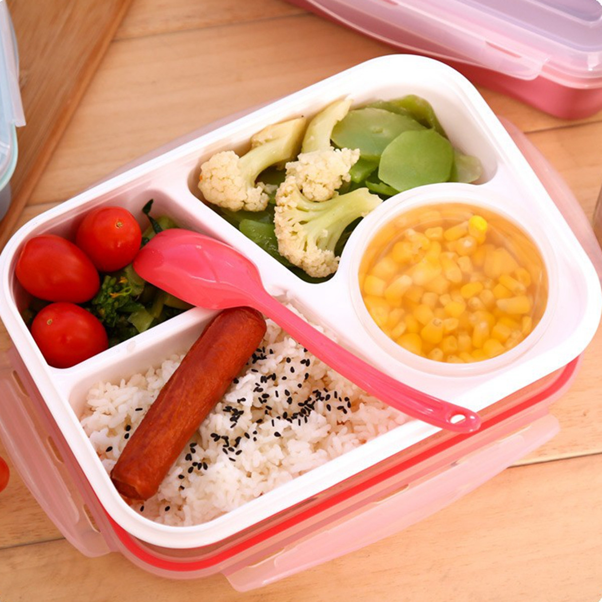 kids soup bowl spoon food picnic container lunch bento box. Black Bedroom Furniture Sets. Home Design Ideas