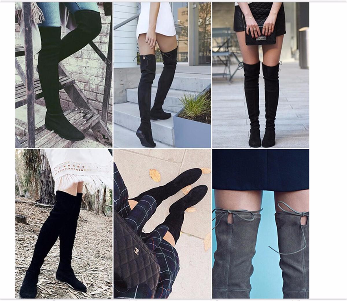 2016 perempuan di atas lutut sepatu bot paha tinggi
