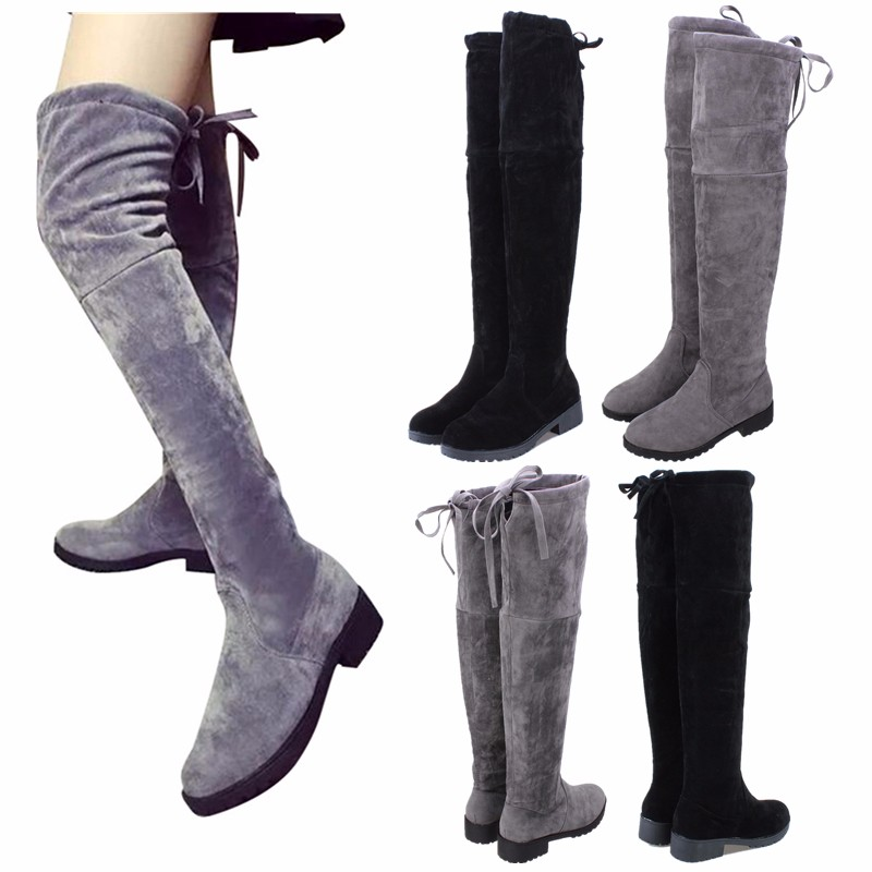 2016 womens the knee thigh high flats boots slim