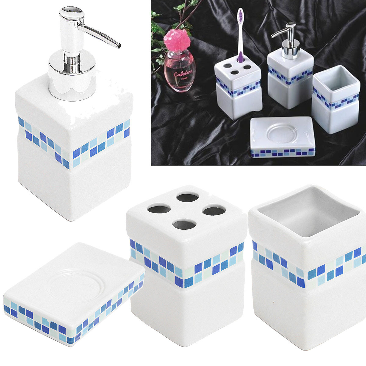 1pc blue mosaic square 4pcs ceramic porcelain bath for Blue mosaic bathroom accessories